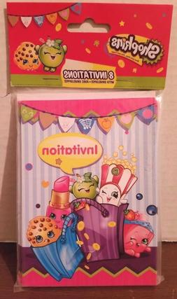 Shopkins Birthday Party Invitations, 8ct Girls 3 yrs+  New