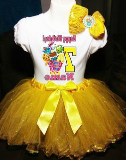 Shopkins +NAME+Seventh 7 7th Birthday Shirt & Yellow Tutu Dr