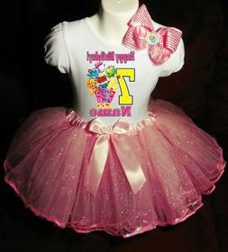Shopkins +NAME+Seventh 7 7th Birthday Shirt & Pink Tutu Dres