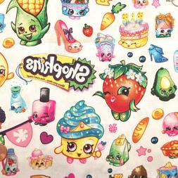 shopkins party fabric packed allover white cotton