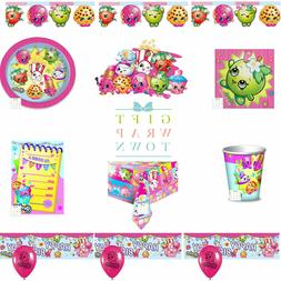 SHOPKINS PARTY SUPPLIES!  PLATES CUPS TABLECLOTH BUNTING NAP