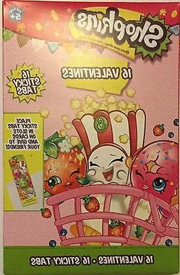 Shopkins Valentines 16 Cards and 16 Sticky Tabs