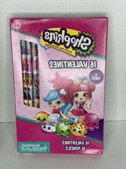 Shopkins Valentines Cards 16 Count With 16 Pencils