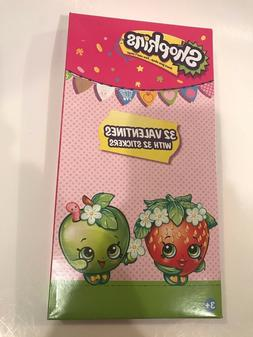 Shopkins Valentines Day Cards Box of 32 Cards and Stickers N