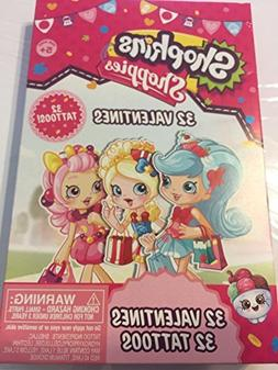 Shopkins shoppies 32 valentines cards with tattoos
