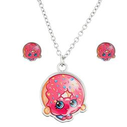 Shopkins Silvertone D'lish Donut Necklace and Earrings Set