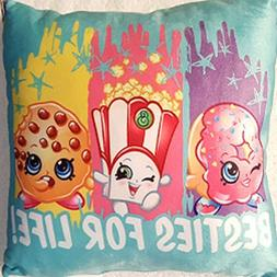 "Shopkins ""Besties For Life!"" Throw Pillow Blue with Shopkin"