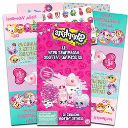 Shopkins Valentine Cards - 32 Cards With 32 Tattoos